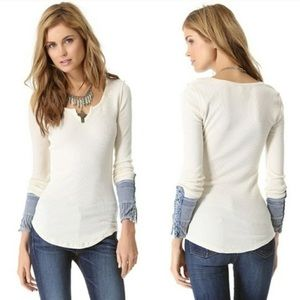 FREE PEOPLE Kyoto Cuff Thermal Henley Top